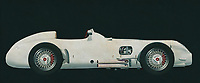 The Mercedes-Benz W 196 R designed for the 1954 season met all the demands of the new Grand Prix formula decreed by the sport's governing body, the CSI (Commission Sportive Internationale): a capacity of 750 cc with or 2500 cc without supercharger, free choice of gas mixture, a racing distance of 300 kilometres or a minimum of three hours. The streamlined version was completed first because the Reims race kicking off the season permitted very high speeds. After that there was also a version with exposed wheels.<br />  -<br /> BUY THIS PRINT AT<br /> <br /> FINE ART AMERICA<br /> ENGLISH<br /> https://janke.pixels.com/featured/2-mercedes-w196-silver-arrow-1954-jan-keteleer.html<br /> <br /> WADM / OH MY PRINTS<br /> DUTCH / FRENCH / GERMAN<br /> https://www.werkaandemuur.nl/nl/werk/Mercedes-W196-Zilveren-Pijl-1954/589446/134<br /> <br /> -
