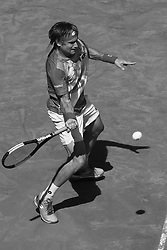 May 7, 2019 - Madrid, Spain - (EDITOR'S NOTE: Image was converted to black and white) David Ferrer of spain during day four of the Mutua Madrid Open at La Caja Magica on May 07, 2019 in Madrid, Spain  (Credit Image: © Oscar Gonzalez/NurPhoto via ZUMA Press)