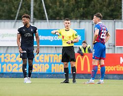 Falkirk's Myles Hippolyte and Inverness Caledonian Thistle's Brad McKay both get yellow cards, after they'd had words off the ball. Falkirk 0 v 0 Inverness Caledonian Thistle, Scottish Championship game played 14/10/2017 at The Falkirk Stadium.