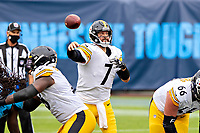 NASHVILLE, TN - OCTOBER 25:  Ben Roethlisberger #7 of the Pittsburgh Steelers throws a pass in the second half of a game against the Tennessee Titans at Nissan Stadium on October 25, 2020 in Nashville, Tennessee.  The Steelers defeated the Titans 27-24.  (Photo by Wesley Hitt/Getty Images) *** Local Caption *** Ben Roethlisberger