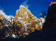 Cloud rising from Isaac, center of the Three Patriarchs, following a winter storm, Zion National Park, Utah.