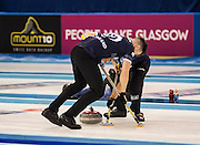 """Glasgow. SCOTLAND.   Scotland, """"Sweeping"""",  """"Round Robin"""" Game. Le Gruyère European Curling Championships. 2016 Venue, Braehead  Scotland<br /> Tuesday  22/11/2016<br /> <br /> [Mandatory Credit; Peter Spurrier/Intersport-images]"""