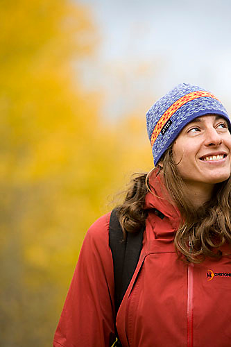 Portrait of young woman out hiking near Lake Tahoe, CA