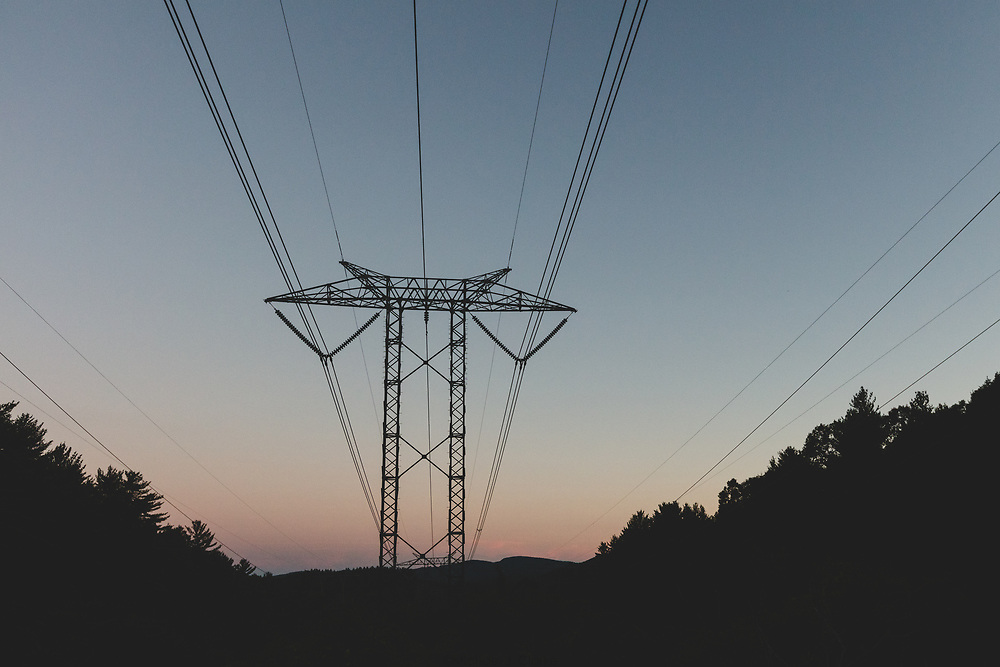 Sunset at the electrical transmission lines in Alexandria, NH.