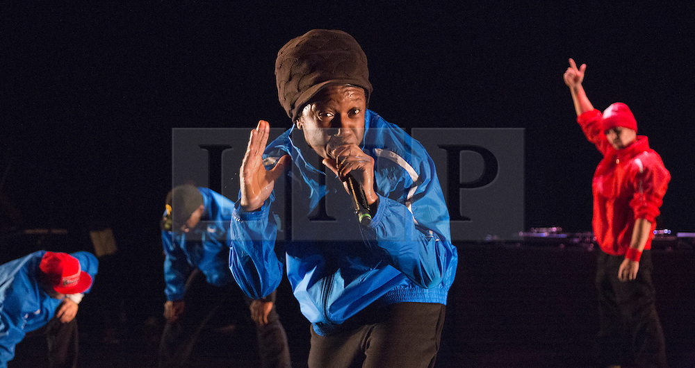 © Licensed to London News Pictures. 17/10/2012. London, England. Centre: Jonzi D. Lyrikal Fearta - Redux revisits some of Jonzi's best known works, including Guilty, Shoota, Safe, Classroom, The Fast Lane and Cracked Mirror. To perform these pieces at the Lilian Baylis Studio at Sadler's Wells, Jonzi is joined by hip hop dance talent including Banxy, Bboy Tuway, Bboy Unique, Lil' Tim and from Boy Blue Entertainment Kenrick 'H2O' Sandy and Michael 'Mikey J' Asante. Photo credit: Bettina Strenske/LNP