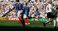 Photo: Steve Bond. <br />Derby County v Portsmouth. Barclays Premiership. 11/08/2007. Andy Todd (C) dives to score