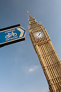 Big Ben and a cycling public information sign in London, UK