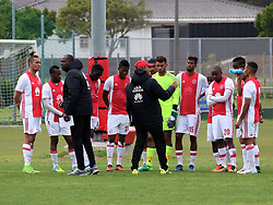 Ajax Cape Town coaches Stanley Menzo and Boebie Solomons issue instructions to the team in a friendly game v NFD club Cape Town All Stars at Ikamva on August 10, 2017 in Cape Town, South Africa.