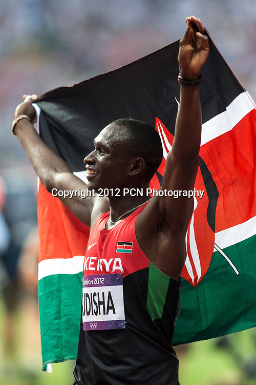 David Rudisha (KEN) winning the gold medal in world record time in the Men's 800m at the Olympic Summer Games, London 2012