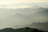 Appalachian Mountain landscape viewed from Mt. LeConte at sunrise in the Great Smoky Mountains National Park<br />