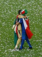 Photo: Glyn Thomas.<br />Italy v France. FIFA World Cup 2006 Final. 09/07/2006.<br /> Italy's Marco Matarazzi (R) and Gianluigi Buffon celebrate.