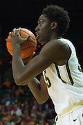 WACO, TX - JANUARY 24: Johnathan Motley #35 of the Baylor Bears brings the ball up court against the Oklahoma Sooners on January 24, 2015 at the Ferrell Center in Waco, Texas.  (Photo by Cooper Neill/Getty Images) *** Local Caption *** Johnathan Motley
