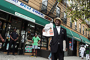 New York, NY-August 13-  NOI member selling the Final Call newspaper at the Millions March in Harlem with keynote speaker Hon. Louis Farrakhan held at the corner of West 110th and Lenox Avenue in Harlem on August 13, 2011 in New York City. Photo Credit: Terrence Jennings