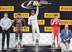 03-07-2016 AUT: Grand Prix van Oostenrijk Formule 1 Red Burg Ring, Spielberg<br /> Podium f.l. Chief Strategist of AMG Mercedes Team James Vowles 2nd placed Dutch Formula One driver Max Verstappen of Red Bull Racing Race winner British Formula One driver Lewis Hamilton of Mercedes AMG F1 3rd placed Finnish Formula One driver Kimi Raeikkoenen of Scuderia Ferrari  and minister of interior Wolfgang Sobotka during the Race for the Austrian Formula One Grand Prix at the Red Bull Ring in Spielberg<br /> <br /> ***NETHERLANDS ONLY***