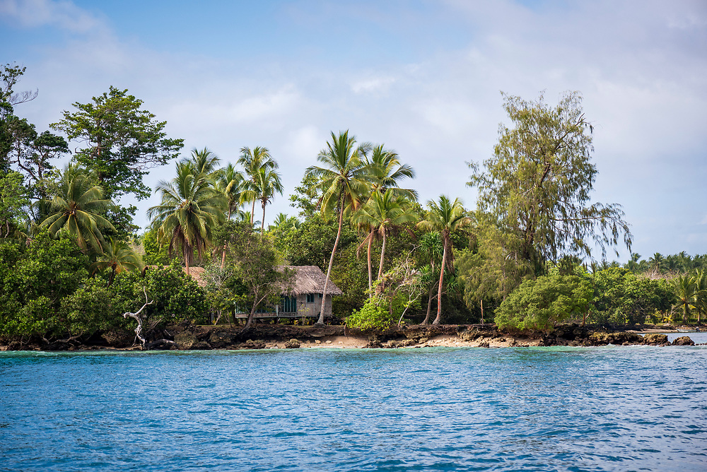 View from a passing boat of Kranket Island Lodge on Kranket Island in Madang, Papua New Guinea.<br /> <br /> (August 1, 2017)
