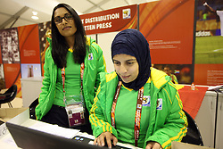 Volunteers in media centre  prior to the 2010 FIFA World Cup South Africa Quarter Finals football match between Uruguay and Ghana on July 02, 2010 at Soccer City Stadium in Sowetto, suburb of Johannesburg. (Photo by Vid Ponikvar / Sportida)