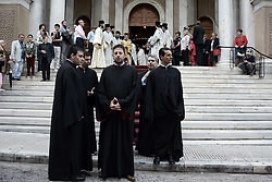 October 3, 2018 - Athens, Greece - Priests wait for the start of Litany of Saint Dionysius the Areopagite in Athens (Credit Image: © Giorgos Zachos/SOPA Images via ZUMA Wire)
