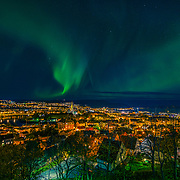 www.aziznasutiphotography.com                                         Northern lights over Trondheim from festningen.
