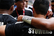 """Photo by Andrew Tobin/Tobinators Ltd. A New Zealand player with """"happy mothers day"""" written on his wrist from the IRB London Rugby 7s tournament held at Twickenham Stadium, London on 12th May 2013. New Zealand won the tournament beating Australia in the final, and also won the overall 2012/13 series."""