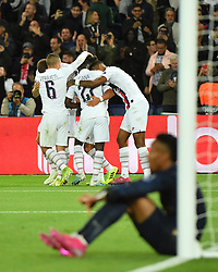 PSG's Thomas Meunier celebrates scoring with teammates during the UEFA Champions League Paris Saint-Germain v Real Madrid at the Parc des Princes stadium on September 18, 2019 in Paris, France. PSG won 3-0. Photo by Christian Liewig/ABACAPRESS.COM