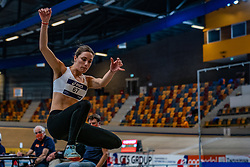 Eva Bastmeijer in action on long jump during limit matches to be held simultaneously with the Dutch Athletics Championships on 13 February 2021 in Apeldoorn