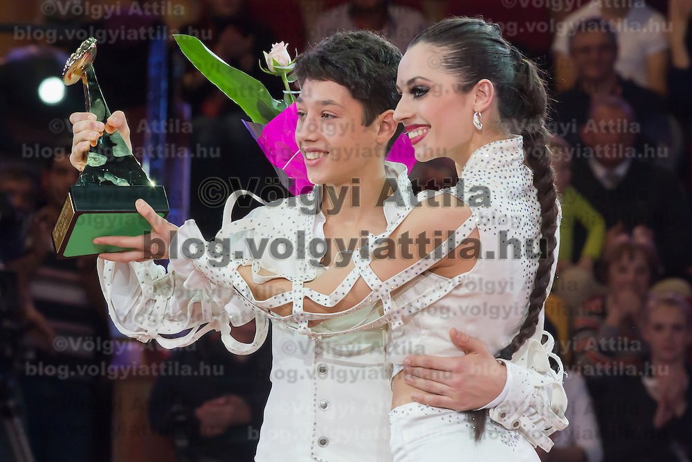 Merrylu Casselly and Rene Casselly Jr. of Germany celebrate winning the Golden Pierrot award during the 10th International Circus Festival in Budapest, Hungary on January 13, 2014. ATTILA VOLGYI