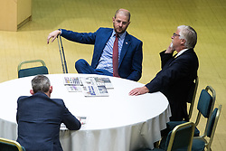 © Licensed to London News Pictures . 29/09/2017 . Torquay , UK . Gawain Towler, Paul Oakden and Steve Crowther reading newspapers in the conference venue . The UK Independence Party Conference at the Riviera International Centre . UKIP is due to announce the winner of a leadership election which has the potential to split the party . Photo credit: Joel Goodman/LNP
