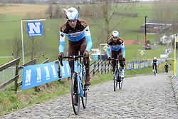 March 30, 2018 - Oudenaarde, Belgique - OUDENAARDE, BELGIUM - MARCH 30 : VANDENBERGH Stijn (BEL)  of AG2R La Mondiale on the Paterberg climb during a training session prior to the Flanders Classics UCI WorldTour 102nd Ronde van Vlaanderen cycling race with start in Antwerpen and finish in Oudenaarde on March 30, 2018 in Oudenaarde, Belgium, 30/03/2018 (Credit Image: © Panoramic via ZUMA Press)