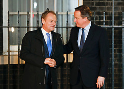 © Licensed to London News Pictures. 31/01/2016. London, UK.  Prime Minister DAVID CAMERON meets with the President of the European Council DONALD TUSK on the steps of Number 10 Downing Street. Mr Cameron is expected to push for changes to benefit payment rules for migrants in talks with Mr Tusk.  Photo credit: Peter Macdiarmid/LNP