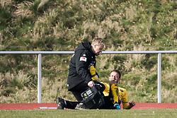 March 23, 2019 - BorÃ…S, SVERIGE - 190323 Elfsborgs Robert Gojani fÃ¥r behandling under träningsmatchen i fotboll mellan Halmstad - Elfsborg den 23 mars 2019 i Halmstad  (Credit Image: © JÖRgen Jarnberger/Bildbyran via ZUMA Press)