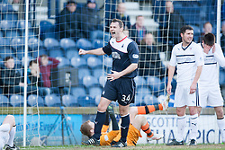 Falkirk's David McCracken after Raith Rovers Dougie Hill scores an own goal for Falkirk's first goal.<br /> Raith Rovers 2 v 4 Falkirk, Scottish Championship game today at Starks Park.<br /> © Michael Schofield.