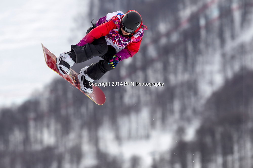 Sina Candrian (SWI) competing in Ladies's Snowboard Slopestyle at the Olympic Winter Games, Sochi 2014