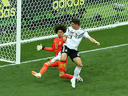 June 17, 2018 - Moscow, Russia - June 17, 2018, Russia, Moscow, FIFA World Cup, First round, Group F, Germany vs Mexico at the Luzhniki stadium. Player of the national team Guillermo Francisco Ochoa Magana, Mario Gomez (Credit Image: © Russian Look via ZUMA Wire)