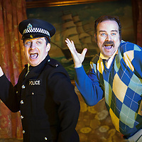 """.Picture shows : Johnny McKnight (l) and Greg Hemphill (right)...Rehearsal of the forthcoming National Theatre of Scotland production 'An Appointment with The Wicker Man'..Picture © Drew Farrell  ( Tel : 07721-735041 ).On a remote Scottish island, the Loch Parry Theatre Players mount their am-dram version of The Wicker Man. When their lead actor goes missing in mysterious circumstances, they call on the services of a television cop from the mainland to step in and save their production. ..The play opens at the MacRobert Arts Centre, Stirling on 18th February 2012 before touring Aberdeen, Glasgow, Inverness and Dunfermline...The Wicker Man regularly tops """"Best Horror Film of All Time"""" lists and is regarded as a true film classic. With an unforgettable sense of creeping dread, a wonderfully memorable score by Paul Giovanni, career defining performances from Edward Woodward and Christopher Lee it also has arguably the best ending in cinema history. Now, in an affectionate new adaptation, the National Theatre of Scotland gives a gallus round of applause to this immortal chronicle of strange goings-on in a wee village. ..An Appointment with the Wicker Man features Greg Hemphill (Chewin' the Fat) and Johnny McKnight (Little Johnny's Big Gay Wedding) alongside a line-up of comic talent. It is at once a deliciously wicked homage to, and a tender celebration of, a piece of cinema history that reveals for us the spooky undercurrents lurking just below the surface of Scottish village life. ..The Loch Parry Players are messing with forces they can't possibly comprehend but at the end of the night, only one thing is for sure . . . someone's going to burn for this...Cast..Sean Biggerstaff    as       Howie and Rory.Jimmy Chisolm      as       Simon.Greg Hemphill        as     Finlay.Johnny McKnight   as      Callum.Sally Reid                 as      Marie.Paul Riley.         as      Fran.Ros Sydney              as      Morag                   ..Written by Gr"""