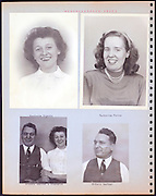 page from a photo album with office workers portraits USA 1945