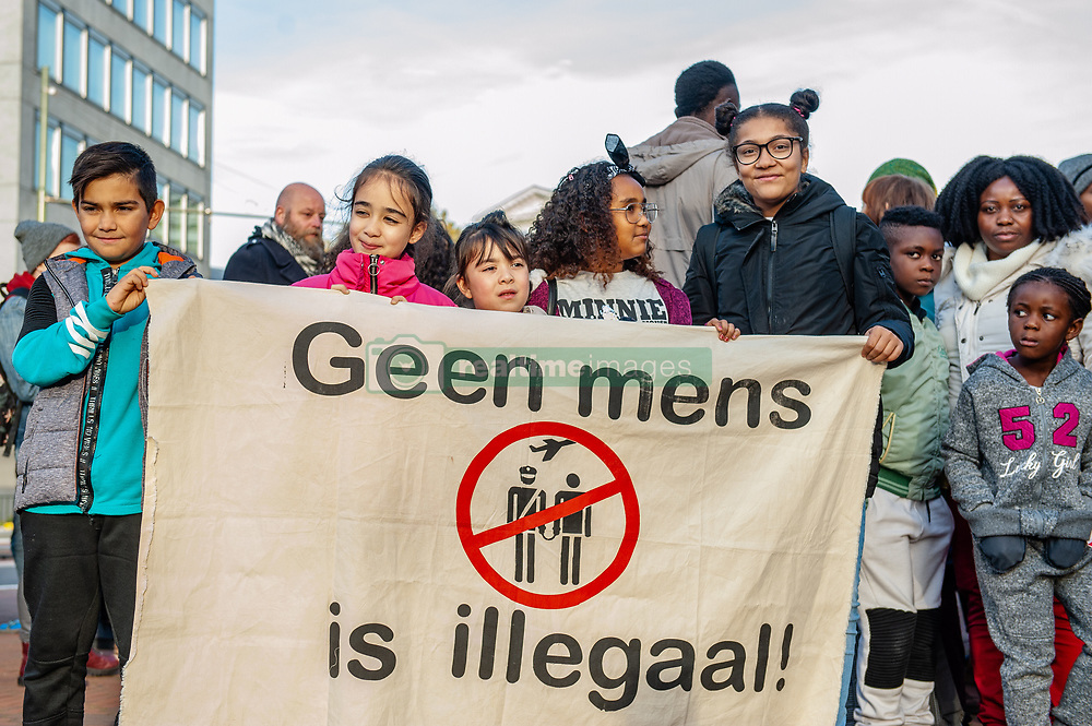 November 3, 2018 - The Hague, Netherlands - On Saturday 3rd of November, the Anti-Fascist Action (AFA) organized a nationwide demonstration in the Hague under the motto: 'No one is illegal. Down with fortress Europe. Freedom of movement for all.' Hundreds of people gathered to make a loud and clear statement against Europe's migration policies and to call for freedom of movement for all. Also to express their solidarity with refugees and migrants and take a stand against racism and exclusion. (Credit Image: © Romy Arroyo Fernandez/NurPhoto via ZUMA Press)