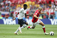 Ousmane Dembele of France and Jens Stryger Larsen of Denmark during the 2018 FIFA World Cup Russia, Group C football match between Denmark and France on June 26, 2018 at Luzhniki Stadium in Moscow, Russia- Photo Tarso Sarraf / FramePhoto / ProSportsImages / DPPI