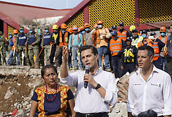 September 8, 2017 - Oaxaca, Mexico - Mexican President ENRIQUE PENA NIETO delivers a speech after an earthquake in the town of Juchitan, Oaxaca state. The 8.2 magnitude quake which rocked Mexico on Thursday night has now left a preliminary death toll of 58, Mexico's national earthquake service, SSN, said on Friday. (Credit Image: © David De La Paz/Xinhua via ZUMA Wire)