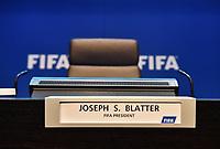 Fotball<br /> Foto: imago/Digitalsport<br /> NORWAY ONLY<br /> <br /> Zuerich, 30.5.2015, Fussball - PK Joseph Blatterr, Feature Platz von Joseph Blatter einen Tag nach seiner Wiederwahl zum FIFA Praesidenten an einer Medienkonferenz. (Melanie Duchene