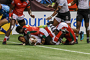 VANCOUVER, BC - MARCH 11: Paula Dranisinukula (#4) of Fiji scores under a pile of Kenya players during Game # 45- Cup Final Fiji vs Kenya Cup Final match at the Canada Sevens held March 11, 2018 in BC Place Stadium in Vancouver, BC. Final score: Fiji- 31, Kenya- 12. (Photo by Allan Hamilton/Icon Sportswire)