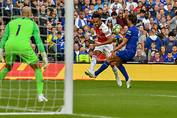 August 1, 2018 - Dublin, Ireland - Chelsea's Marcos Alonso blocks a cross from Arsenal's Pierre-Emerick Aubameyang during the Chelsea v Arsenal International Champions Cup in Aviva Stadium. (Credit Image: © Ben Ryan/SOPA Images via ZUMA Wire)