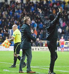 Steven Pressley, Falkirk manager cele at the end..Falkirk 3 v 2 Rangers..©Pic : Michael Schofield.