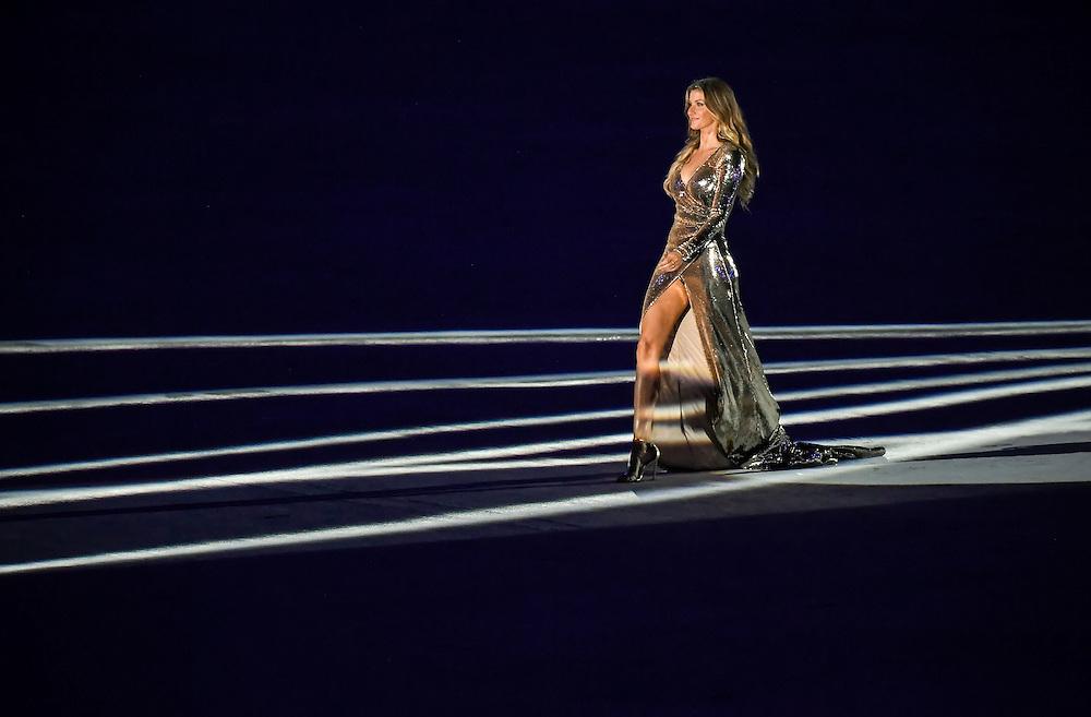 Supermodel Gisele Bundchen walked into Maracana Stadium during the Opening Ceremonies of the 2016 Summer Olympics Games in Rio de Janeiro, Brazil.