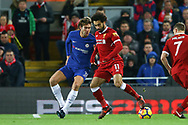 Mohamed Salah of Liverpool (r) shields the ball from Marcos Alonso of Chelsea. Premier League match, Liverpool v Chelsea at the Anfield stadium in Liverpool, Merseyside on Saturday 25th November 2017.<br /> pic by Chris Stading, Andrew Orchard sports photography.