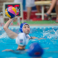 Sun Yujun! of China passes the ball during the women waterpolo friendly match of Hungary and China in Tatabanya, Hungary on June 23, 2012. ATTILA VOLGYI