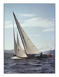 The Clyde Cruising Club's 1977 Tomatin Trophy the first Scottish Series held at Tarbert Loch Fyne.  An overnight race from Gourock to Campbeltown then on to Olympic Triangles in Loch Fyne. ..Bermudan cutter, 180C, Eilidh...