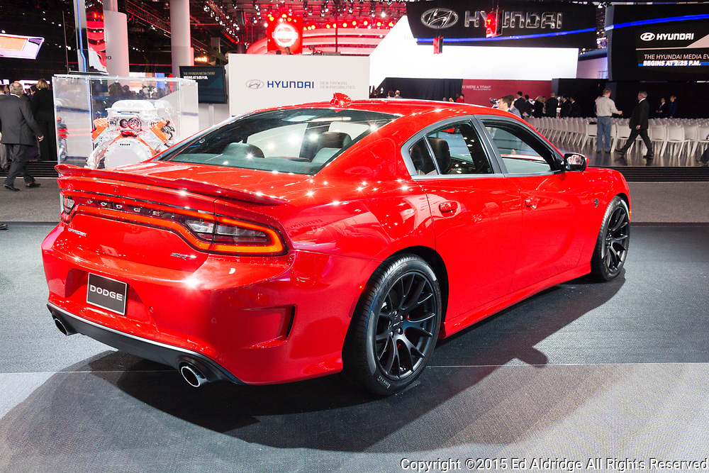 DETROIT, MI, USA - JANUARY 12, 2015: Dodge Charger SRT Hellcat on display during the 2015 Detroit International Auto Show at the COBO Center in downtown Detroit.