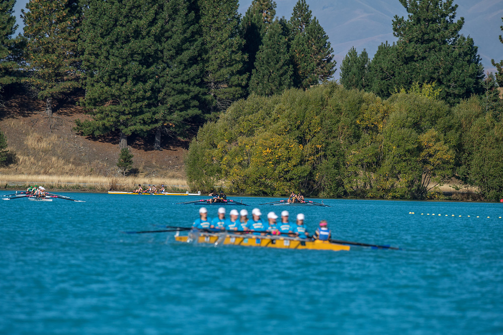 Rowers compete at the SISSC on Lake Ruataniwha, Twizel, Friday 8 March 2019, Christchurch.<br /> <br /> © Copyright photo Steve McArthur / @RowingCelebration   www.rowingcelebration.com