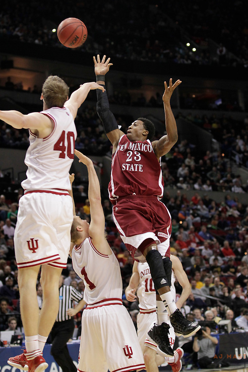 15 March 2012: New Mexico State Aggies guard Daniel Mullings (23) as the New Mexico State Aggies played the Indiana Hoosiers in the Second Round of the NCAA Division I Men's Basketball Championship at the Rose Garden in Portland, OR.