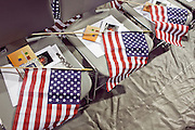 """04 JULY 2009 -- PHOENIX, AZ: American flags on chairs that will be occupied by new US citizens in Phoenix, AZ. U.S. Citizenship and Immigration Services and South Mountain Community College in Phoenix, AZ, hosted the 21st annual """"Fiesta of Independence"""" Saturday, July 4. More than 180 people from 58 countries took the US Oath of Citizenship and became naturalized US citizens. The ceremony was one of dozens of similar ceremonies held across the US this week. USCIS said more than 6,000 people were naturalized US citizens during the week.  Photo by Jack Kurtz / ZUMA Press"""